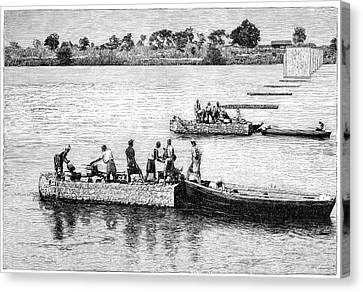 Colonial Man Canvas Print - Railway Bridge Construction by Science Photo Library