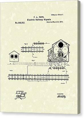 Railway Signals 1874 Patent Art Canvas Print