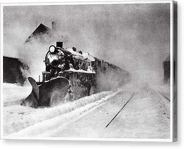 Clearing Canvas Print - Railway Snow Plough by Cci Archives
