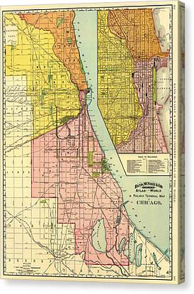 Railway Terminal Map Of Chicago 1897 Canvas Print by Mountain Dreams