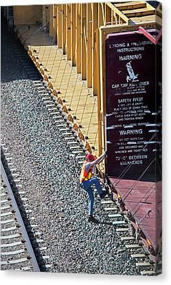 Rail Siding Canvas Print - Railway Worker by Jim West