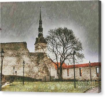 Rain And Castle Canvas Print by Yury Bashkin