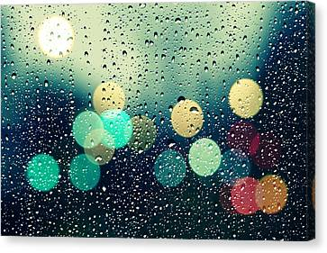 Raining Canvas Print - Rain And The City by Beata  Czyzowska Young