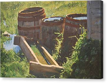 Rain Barrels With Watering Trough Canvas Print by Len Stomski
