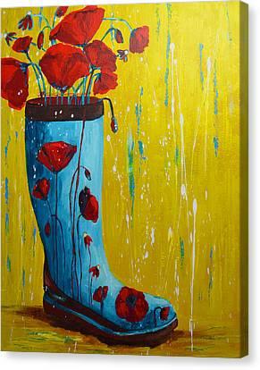 Rain Boot Series Unusual Flower Pots Canvas Print by Patricia Awapara