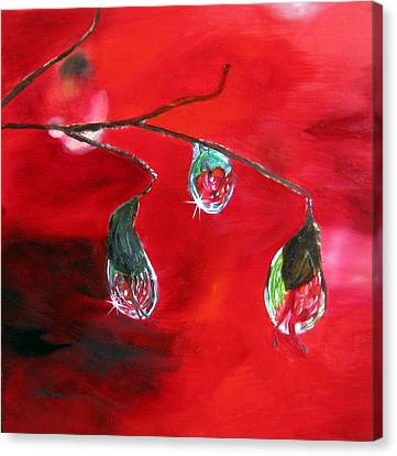Canvas Print featuring the painting Rain Drops Study by LaVonne Hand