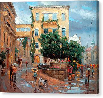 Canvas Print featuring the painting Rain In Baden Baden by Dmitry Spiros