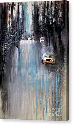 Canvas Print featuring the drawing Rain In New York by Maja Sokolowska