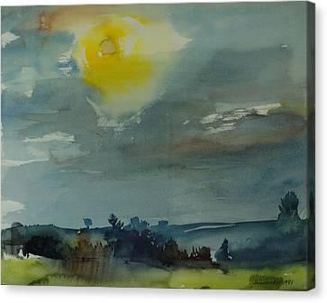 Rain In The Air, 1981 Wc On Paper Canvas Print by Brenda Brin Booker