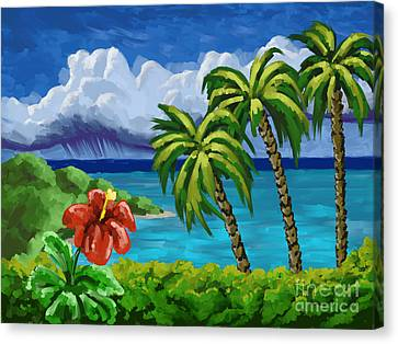 Canvas Print featuring the painting Rain In The Islands by Tim Gilliland