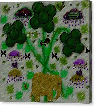 Rain In The Poker Forest Canvas Print by Pepita Selles