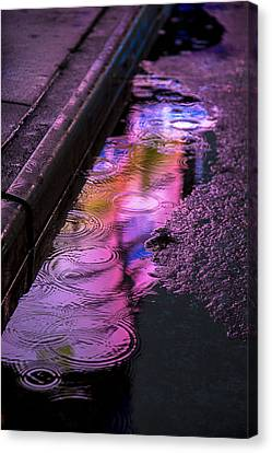 Rain In The Street Canvas Print by Garry Gay