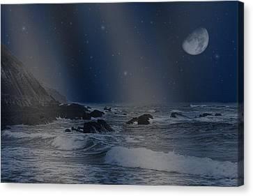 Rain Of Stars On The Sea  Canvas Print by Angel Jesus De la Fuente