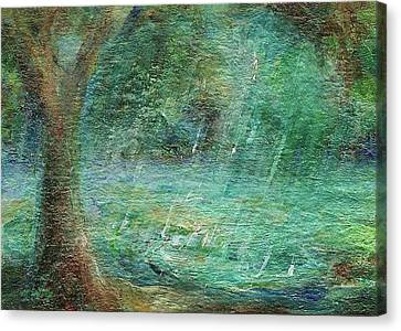 Canvas Print featuring the painting Rain On The Pond by Mary Wolf