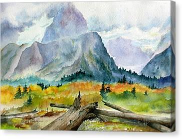 Rain On The Twenty Mile River Canvas Print by Karen Mattson