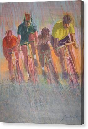 Rain Racers Canvas Print by J W Kelly