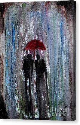 Canvas Print featuring the painting Rain by Saranya Haridasan