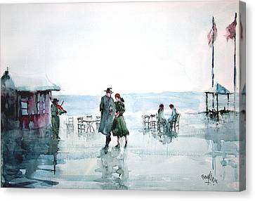 Canvas Print featuring the painting Rain Serenad - Moments Of Life... by Faruk Koksal