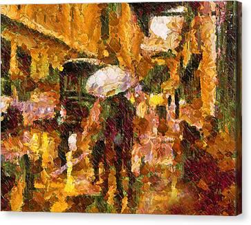 Rain Walk At Night Abstract Canvas Print by Georgiana Romanovna