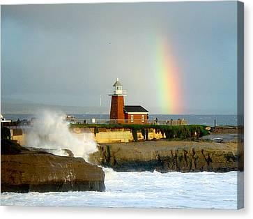 Rainbow At Santa Cruz Lighthouse Canvas Print by Randy Straka