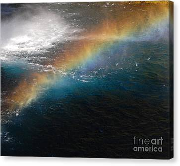 Canvas Print featuring the photograph Rainbow At Waterfall Base by Debra Thompson