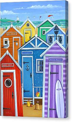Rainbow Beach Huts Canvas Print by Peter Adderley
