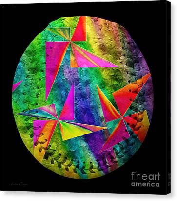 Rainbow Bliss Pinwheels Baseball Square Canvas Print by Andee Design