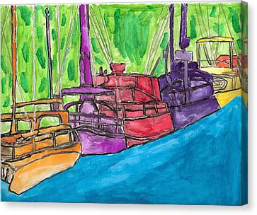 Canvas Print featuring the painting Rainbow Boats by Artists With Autism Inc