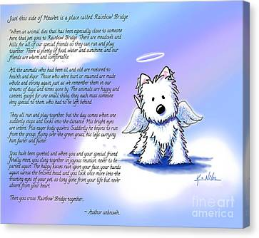 Rainbow Bridge Poem With Westie Canvas Print