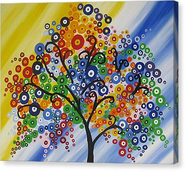 Rainbow Bubble Tree Canvas Print by Cathy Jacobs