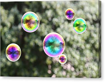 Rainbow Bubbles Canvas Print by Suzi Nelson