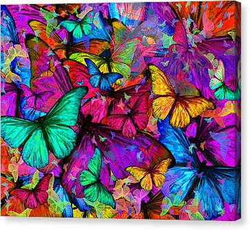 Rainbow Butterfly Explosion Canvas Print