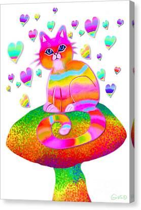 Rainbow Cat Hearts And Mushrooms Canvas Print by Nick Gustafson