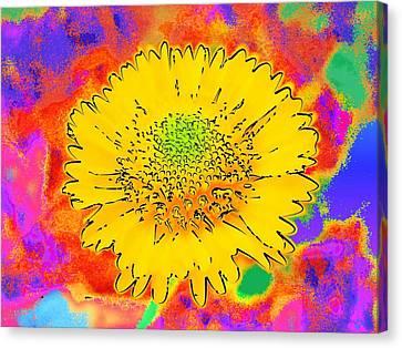 Rainbow Colored Sunshine Flower- Because I'm Happy Canvas Print by David Mckinney