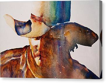 Canvas Print featuring the painting Rainbow Cowboy by Jani Freimann