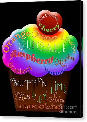 Rainbow Cupcake Typography Canvas Print by Andee Design