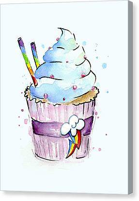Rainbow-dash-themed Cupcake Canvas Print by Olga Shvartsur