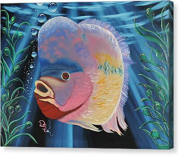 Canvas Print featuring the painting Rainbow Devil Fish by Dianna Lewis