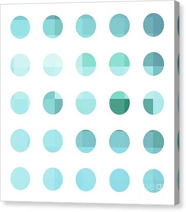 Rainbow Dots Aqua  Canvas Print