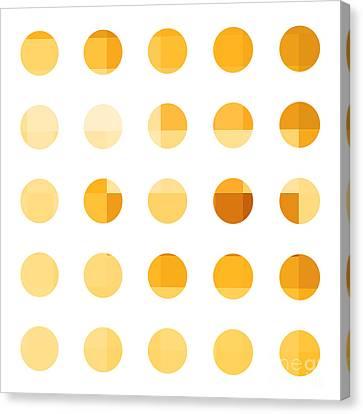 Rainbow Dots Orange Canvas Print by Pixel Chimp