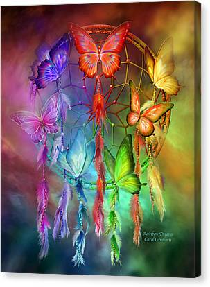 Canvas Print featuring the mixed media Rainbow Dreams by Carol Cavalaris