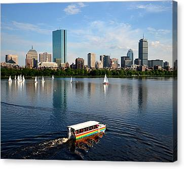 Rainbow Duck Boat On The Charles Canvas Print by Toby McGuire