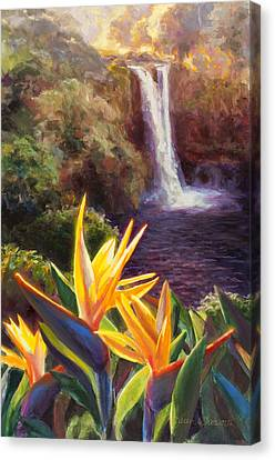 Rainbow Falls Big Island Hawaii Waterfall  Canvas Print by Karen Whitworth