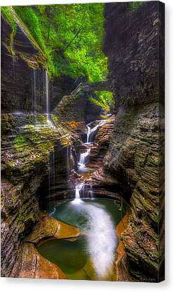 Rainbow Falls Of Watkins Glen Canvas Print by Mark Papke