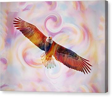 Rainbow Flying Eagle Watercolor Painting Canvas Print