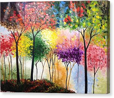 Rainbow Forest Canvas Print by Shilpi Singh