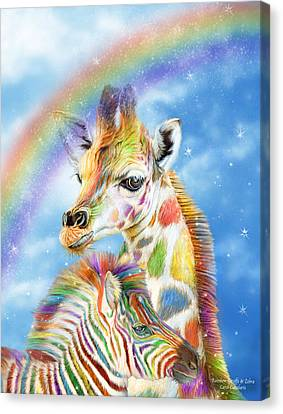 Rainbow Giraffe And Zebra Canvas Print by Carol Cavalaris