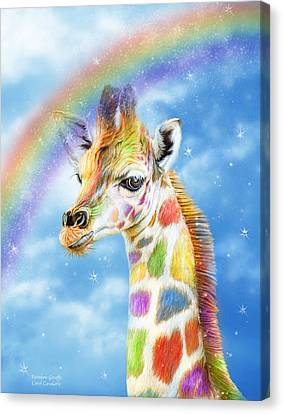 Canvas Print featuring the mixed media Rainbow Giraffe by Carol Cavalaris
