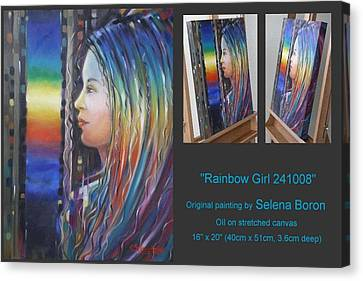 Canvas Print featuring the painting Rainbow Girl 241008 by Selena Boron