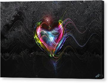 Rainbow Heart Canvas Print by Linda Sannuti